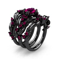 Nature Classic Trio 14K Black Gold 1.0 Ct Rose Ruby Leaf and Vine Engagement Ring Wedding Band Set R340SG3-14KBGRR