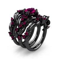 Nature Classic Trio 14K Black Gold 1.0 Ct Rose Ruby Leaf and Vine Engagement Ring Wedding Band Set R340SG3-14KBGRR