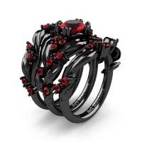 Nature Classic Trio 14K Black Gold 1.0 Ct Ruby Leaf and Vine Engagement Ring Wedding Band Set R340SG3-14KBGR