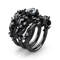 Nature Classic Trio 14K Black Gold 1.0 Ct White Sapphire Leaf and Vine Engagement Ring Wedding Band Set R340SG3-14KBGWS