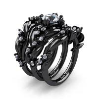 Nature Classic Trio 14K Black Gold 1.0 Ct White Sapphire Leaf and Vine Engagement Ring Wedding Band Set R340SG3-14KBGWS