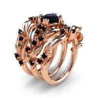 Nature Classic Trio 14K Rose Gold 1.0 Ct Black Diamond Leaf and Vine Engagement Ring Wedding Band Set R340SG3-14KRGBD