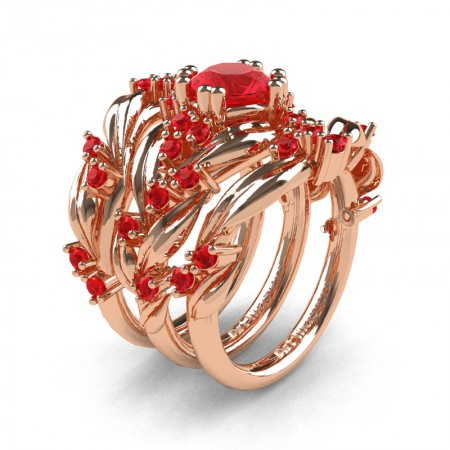 Nature Classic Trio 14K Rose Gold 1.0 Ct Ruby Leaf and Vine Engagement Ring Wedding Band Set R340SG3-14KRGR