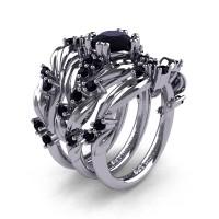 Nature Classic Trio 14K White Gold 1.0 Ct Black Diamond Leaf and Vine Engagement Ring Wedding Band Set R340SG3-14KWGBD