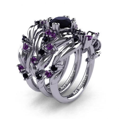 Nature Classic Trio 14K White Gold 1.0 Ct Black Sapphire Amethyst Leaf and Vine Engagement Ring Wedding Band Set R340SG3-14KWGAMBLS