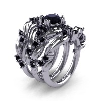 Nature Classic Trio 14K White Gold 1.0 Ct Black Sapphire Leaf and Vine Engagement Ring Wedding Band Set R340SG3-14KWGBLS