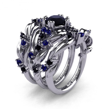 Nature Classic Trio 14K White Gold 1.0 Ct Black and Blue Sapphire Leaf and Vine Engagement Ring Wedding Band Set R340SG3-14KWGBLSS