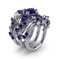 Nature Classic Trio 14K White Gold 1.0 Ct Blue Sapphire Leaf and Vine Engagement Ring Wedding Band Set R340SG3-14KWGBS