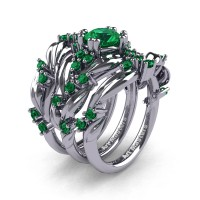 Nature Classic Trio 14K White Gold 1.0 Ct Emerald Leaf and Vine Engagement Ring Wedding Band Set R340SG3-14KWGEM