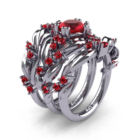 Nature Classic Trio 14K White Gold 1.0 Ct Ruby Leaf and Vine Engagement Ring Wedding Band Set R340SG3-14KWGR