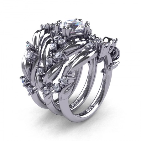 Nature Classic Trio 14K White Gold 1.0 Ct White Sapphire Leaf and Vine Engagement Ring Wedding Band Set R340SG3-14KWGWS