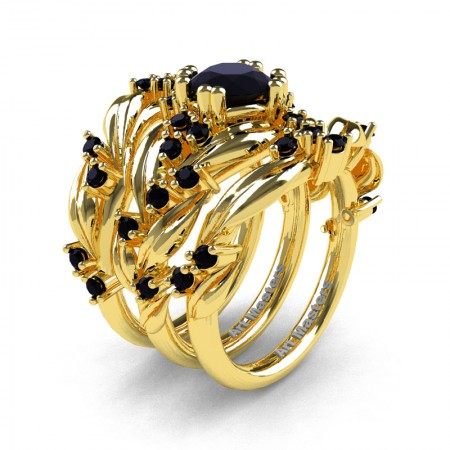 Nature Classic Trio 14K Yellow Gold 1.0 Ct Black Diamond Leaf and Vine Engagement Ring Wedding Band Set R340SG3-14KYGBD