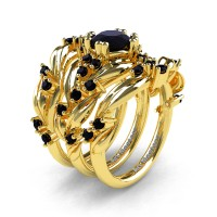 Nature Classic Trio 14K Yellow Gold 1.0 Ct Black Sapphire Leaf and Vine Engagement Ring Wedding Band Set R340SG3-14KYGBLS
