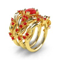Nature Classic Trio 14K Yellow Gold 1.0 Ct Ruby Leaf and Vine Engagement Ring Wedding Band Set R340SG3-14KYGR
