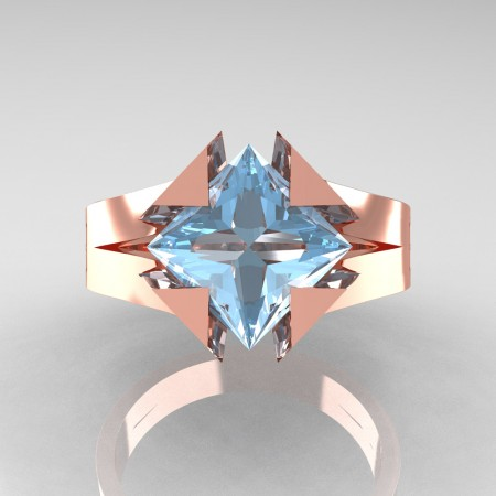 Neomodern 14K Rose Gold 2.0 Ct Princess Aquamarine Engagement Ring R489-14KRGAQ