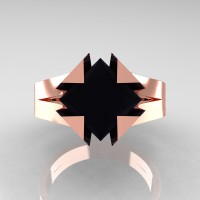 Neomodern 14K Rose Gold 2.0 Ct Princess Black Diamond Engagement Ring R489-14KRGBD