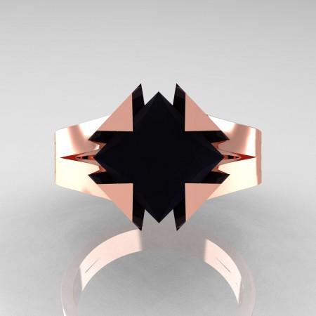 Neomodern 14K Rose Gold 2.0 Ct Princess Black Diamond Engagement Ring R489-14KRGBD