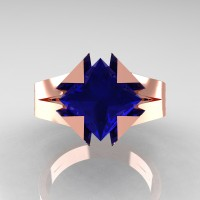 Neomodern 14K Rose Gold 2.0 Ct Princess Blue Sapphire Engagement Ring R489-14KRGBS
