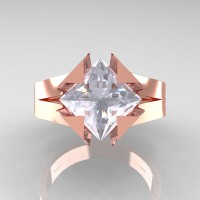 Neomodern 14K Rose Gold 2.0 Ct Princess White Sapphire Engagement Ring R489-14KRGWS