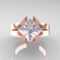 Neomodern 14K Rose Gold 2.0 Ct Princess White Sapphire Engagement Ring R489-14KRGWS
