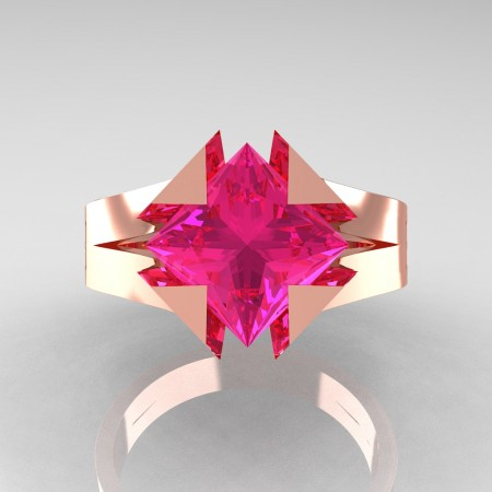 Neomodern 14K Rose Gold 2.0 Ct Princess Pink Sapphire Engagement Ring R489-14KRGPS