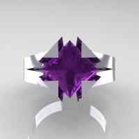 Neomodern 14K White Gold 2.0 Ct Princess Amethyst Engagement Ring R489-14KWGAM