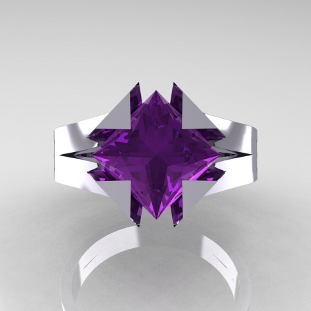 Neomodern 14K White Gold 2.0 Ct Princess Amethyst Engagement Ring R489-14KWGAM