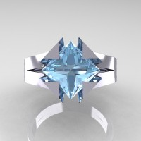 Neomodern 14K White Gold 2.0 Ct Princess Aquamarine Engagement Ring R489-14KWGAQ