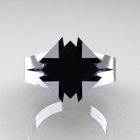 Neomodern 14K White Gold 2.0 Ct Princess Black Diamond Engagement Ring R489-14KWGBD