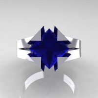 Neomodern 14K White Gold 2.0 Ct Princess Blue Sapphire Engagement Ring R489-14KWGBS