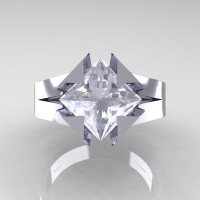 Neomodern 14K White Gold 2.0 Ct Princess White Sapphire Engagement Ring R489-14KWGWS