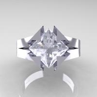 Neomodern 14K White Gold 2.0 Ct Princess White Sapphire Engagement Ring R489-14KWGWS