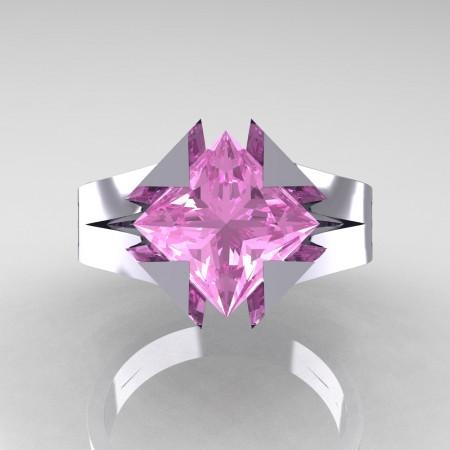 Neomodern 14K White Gold 2.0 Ct Princess Light Pink Sapphire Engagement Ring R489-14KWGLPS