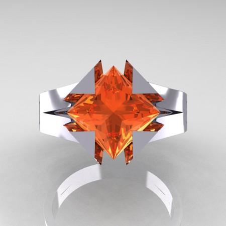 Neomodern 14K White Gold 2.0 Ct Princess Orange Sapphire Engagement Ring R489-14KWGOS