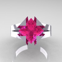 Neomodern 14K White Gold 2.0 Ct Princess Pink Sapphire Engagement Ring R489-14KWGPS