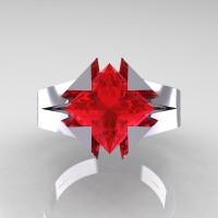 Neomodern 14K White Gold 2.0 Ct Princess Ruby Engagement Ring R489-14KWGR