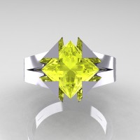 Neomodern 14K White Gold 2.0 Ct Princess Yellow Sapphire Engagement Ring R489-14KWGYS