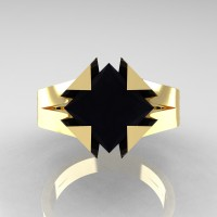 Neomodern 14K Yellow Gold 2.0 Ct Princess Black Diamond Engagement Ring R489-14KYGBD