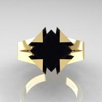 Neomodern 14K Yellow Gold 2.0 Ct Princess Black Diamond Engagement Ring R489-14KYGBD
