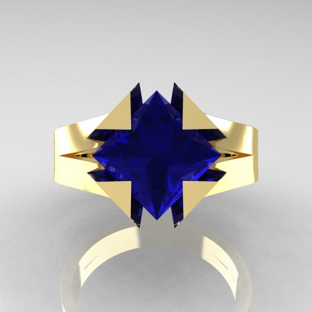 Neomodern 14K Yellow Gold 2.0 Ct Princess Blue Sapphire Engagement Ring R489-14KYGBS