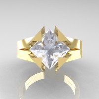Neomodern 14K Yellow Gold 2.0 Ct Princess White Sapphire Engagement Ring R489-14KYGWS