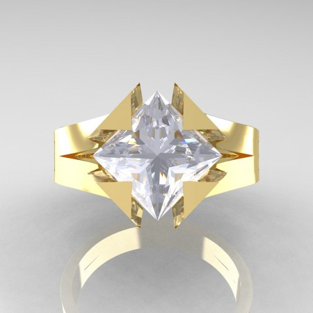 Neomodern 14K Yellow Gold 2.0 Ct Princess White Sapphire Engagement Ring R489-14KYGWS