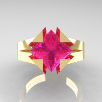 Neomodern 14K Yellow Gold 2.0 Ct Princess Pink Sapphire Engagement Ring R489-14KYGPS