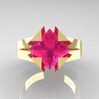 Neomodern 14K Yellow Gold 2.0 Ct Princess Pink Sapphire Engagement Ring R489-14KYGPS