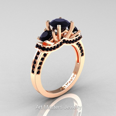 Art Masters French 14K Rose Gold 2.0 Ctw Three Stone Black Sapphire Engagement Ring R182-14KRGBLS