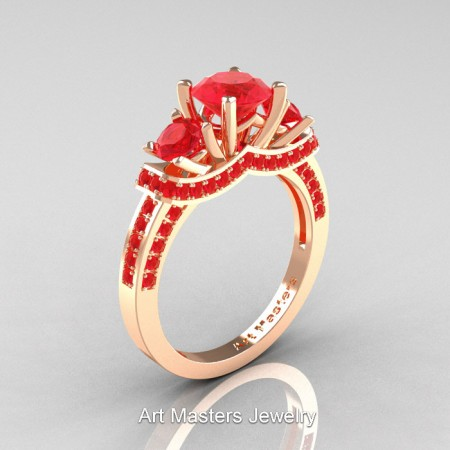Art Masters French 14K Rose Gold 2.0 Ctw Three Stone Ruby Engagement Ring R182-14KRGR
