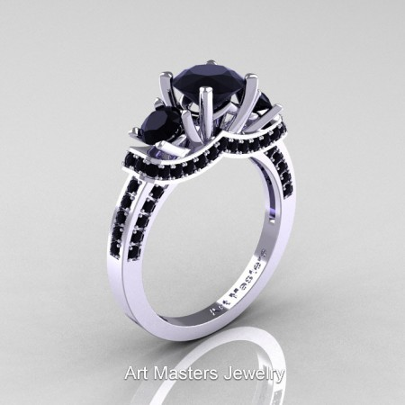 Art Masters French 14K White Gold 2.0 Ctw Three Stone Black Sapphire Engagement Ring R182-14KWGBLS