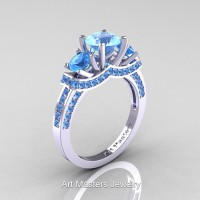 Art Masters French 14K White Gold 2.0 Ctw Three Stone Blue Topaz Engagement Ring R182-14KWGBT