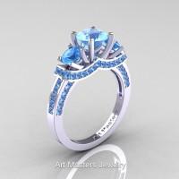 Art Masters French 14K White Gold 2.0 Ctw Three Stone Blue Topaz Engagement Ring R182-14KWGBT