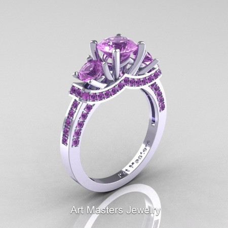 Art Masters French 14K White Gold 2.0 Ctw Three Stone Lilac Amethyst Engagement Ring R182-14KWGLAM